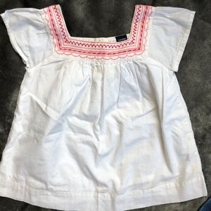 NEW GAP Girls White Embroidered Blouse